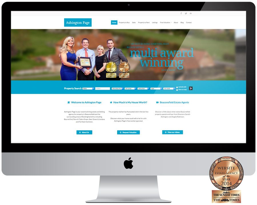 Ashington Page Estate Agent Web Design