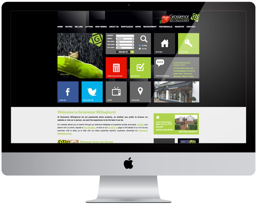 Grosvenor Billinghurst Estate Agent Web Design