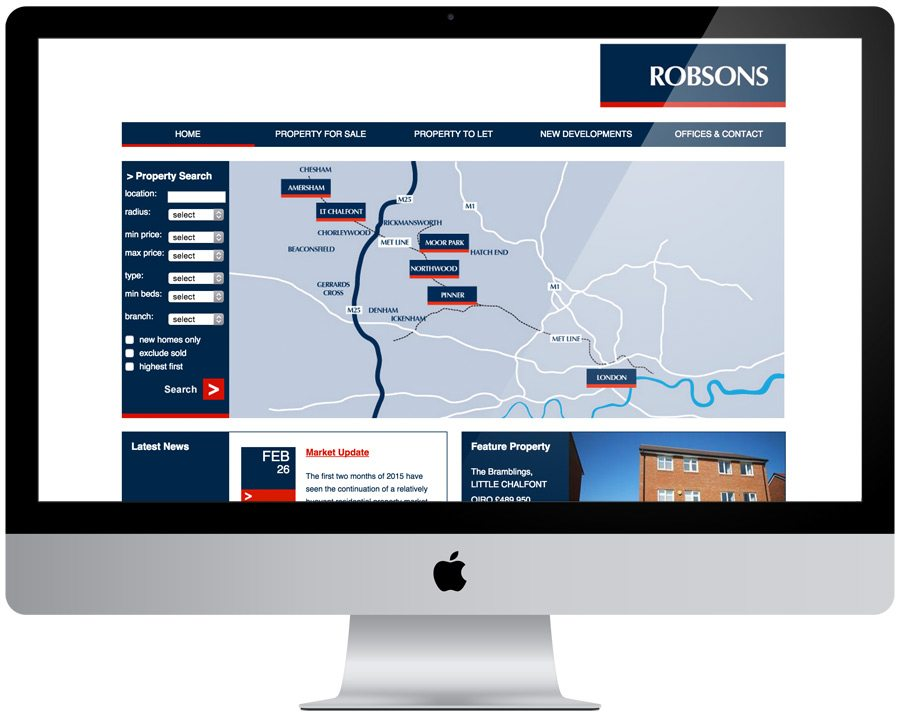 Robsons Estate Agent Web Design
